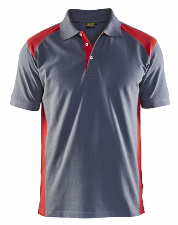 Blaklader 3324 Pique 2 Colour Polo Shirt (Grey/Red)